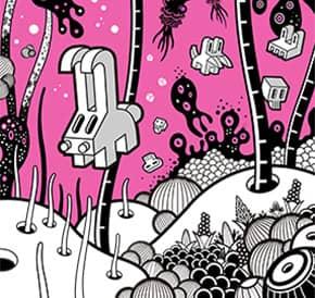 Ilustración lámina mundo rosa