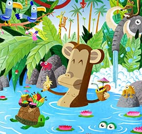 Ilustración del cuento La fiesta del mono Tomás